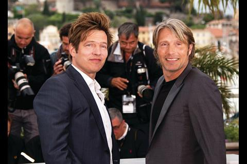 Actor Mads Mikkelsen and director Thomas Vinterberg at the photocall for The Hunt